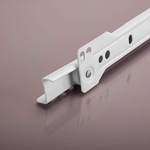 SOTECH 1 paire de coulisses à extension partielle RT3-30-B12,5-L450-NF Longueur 450 mm Roulement à galets blanc revêtu de poudre
