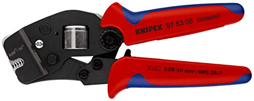 KNIPEX 97 53 08 Selbsteinstellende Crimpzange für Aderendhülsen mit Fronteinführung brüniert mit Mehrkomponenten-Hüllen 190 mm
