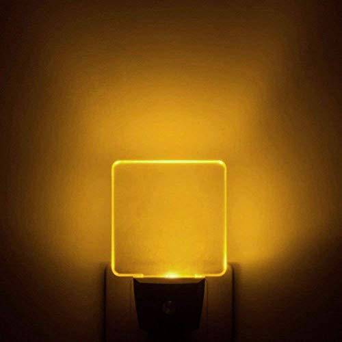 UL Listed 0.5W Plug in LED Night Light, Bright Warm White/Yellow/Amber Night Light, Dusk to Dawn Sensor, 2 Pieces