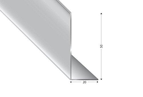 Alu-Winkel ungleischenklig, silber eloxiert,50x20x2mm, 200cm
