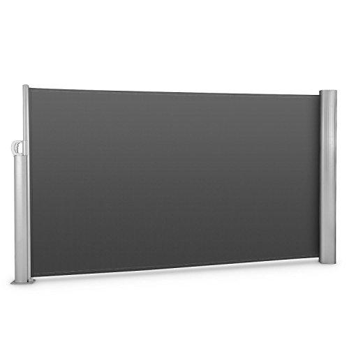 blumfeldt Bari 316 Seitenmarkise Seitenrollo Sicht- und Windschutz für Terrasse oder Balkon (300 x 160cm, ausziehbar, Aluminium) mattblack