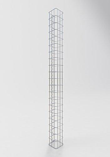 GABIONA befüllbare Steinkörbe Säulen Gabione eckig I Drahtkörbe für Steine zur Gartengestaltung Maschenw. 5x10cm I 4mm Gabionenkörbe galvanisch verzink I Steinkorb Säule 200cm hoch 17 x 17 cm