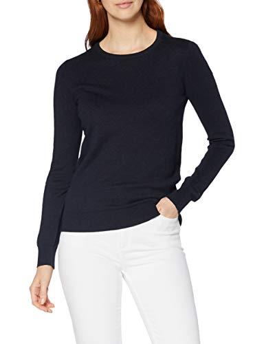 Marchio Amazon - MERAKI Pullover Cotone Donna Girocollo, Blu (Navy), 44, Label: M