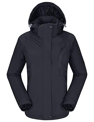 CAMELSPORTS Women's Waterproof Mountain Ski Snow Jacket with Fleece Outdoor Windproof Raincoat Hooded for Fall and Winter Black