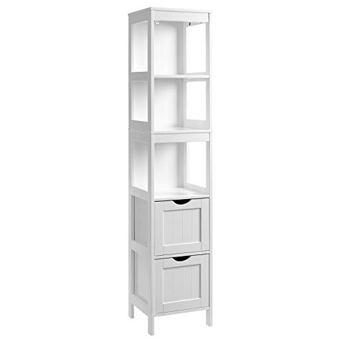 VASAGLE Bathroom Tall Cabinet, Linen Tower, Floor Storage Cupboard, with 2 Drawers and 3 Open Shelves, 11.8 x 11.8 x 55.7 Inches, for Bathroom, Living Room, Kitchen, White UBBC66WT