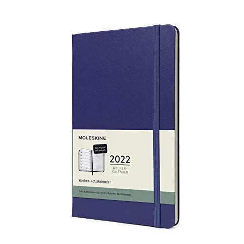 Moleskine 12 Monate Wochen Notizkalender Deutsch 2022, Large/A5, 1 Wo = 1 Seite, rechts linierte Seite, Gebunden, Pfaublau