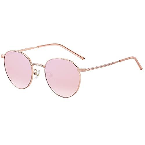 H HELMUT JUST Gafas De Sol Para Mujer Redondas Retro Rosa Espejo De Metal con Montura Protección UV400