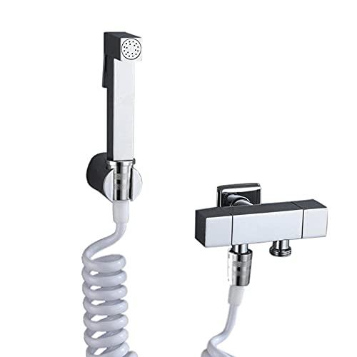 Pulverizador Grifo Bidet Portatil para Wc, Acero Inoxidable Multifuncional agua fría Presurizado Ducha Bidet Pulverizadores para Inodoro Grifo Wc, Utilizado para Inodoro de Baño-C