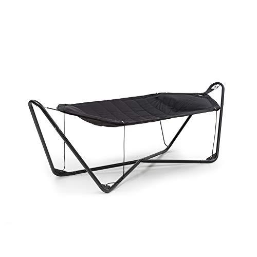 blumfeldt San Pedro gewatteerde hangmat - stalen frame met poedercoating, 600D Oxford stof, Fun Relax constructie, maximaal draagvermogen: 160 kg, ligvlak: 260 x 110 cm (BxD), zwart