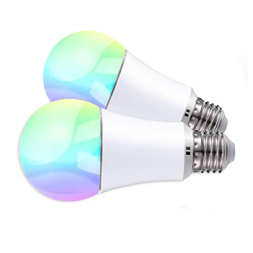 JinvooSmart WiFi Smart E27 LED Glühbirne, Dimmbar, RGB + Warmweiß, 16 Millionen Multi-Color Dimmbar, Kompatibel mit iOS/Android, Kompatibel mit Alexa Echo und Google Assistant, 6W