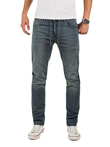 Yazubi Herren Sweathose in Jeansoptik Erik - Jogging Jeans Herren - graue Jeanshose - Slim-Fit Denim Jogger, Grau (Turbulence Grey 194215), W31/L34