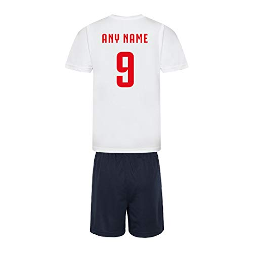 Sportees Retro Kids Personalised White And Navy England Style Home Football Kit Bundle With FREE Gym Bag & Boot Bag Youth Football England Boys Or Girls Football Jersey - 5/6 Years