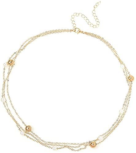 NC190 Exquisito Collar de Gargantilla de Perlas de Tres Capas con Encanto para Mujer, Colgante de Cadena de Oro para Boda, Regalo de joyería para Fiesta de Moda para Mujer