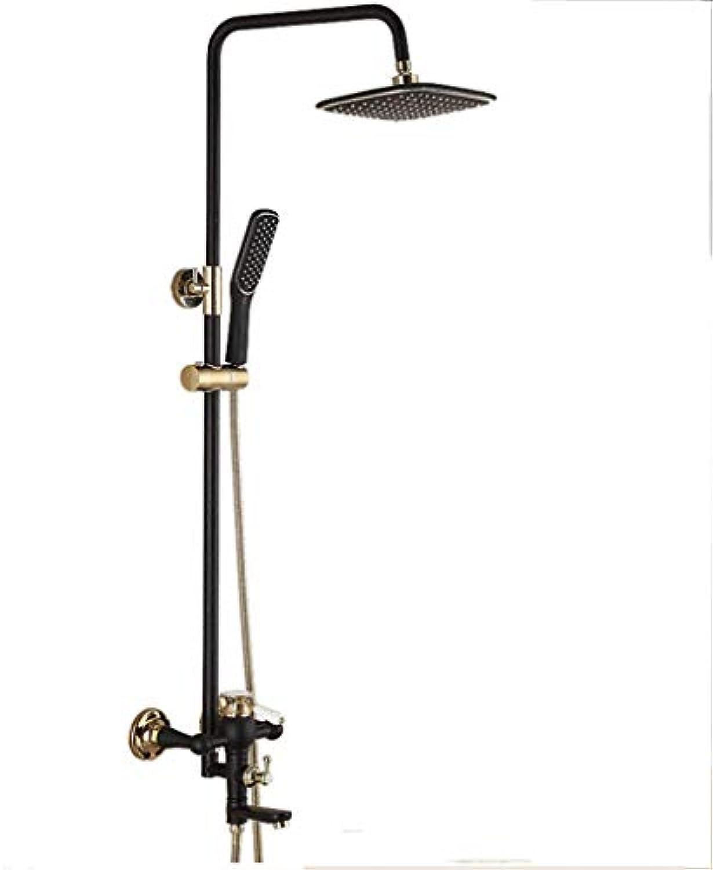 LHW Shower Set chset, europisches Retro, schwarzes Gold, Multifunktionsdusche, Kupfer, Badezimmerdusche