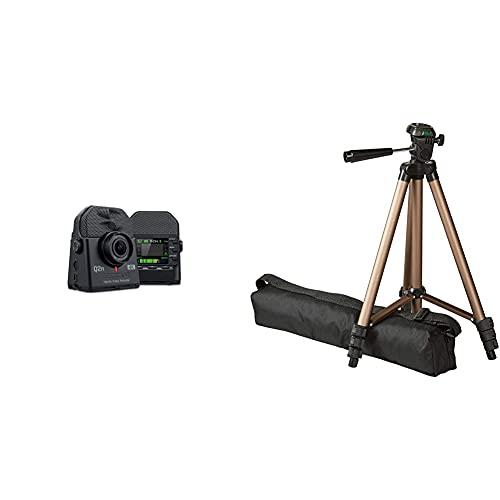 Zoom q2n-4k/if Grabador Digital de Audio y Video + Amazon Basics – trípode Ligero para cámara con Funda, de 41,91 a 127cm