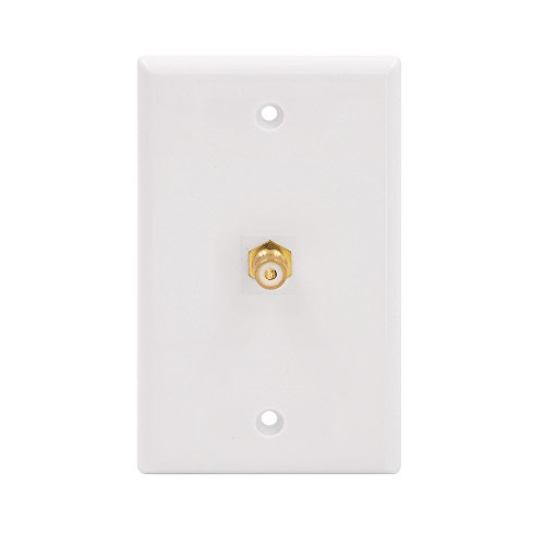 VCE Single RCA Connector Wall Plate for Subwoofer Audio Port-White