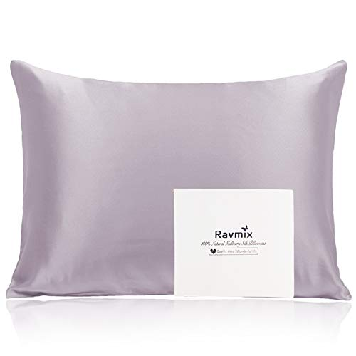 Ravmix Silk Pillowcase for Hair and Skin, 100% 21Momme, with Hidden Zipper, Both Sides Mulberry Silk, 1PCS, Queen Size 20×30inches, Lilac