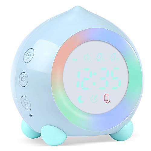 PROKING Sveglia Digitale Bambina, Sveglie Digitale per Bambini per Ragazze Ragazzi con Luci Colorate Sveglia Senza Ticchettio Sveglia da Comodino Lampada Notturna Sveglia Silenziosa con Snooze (Blu)