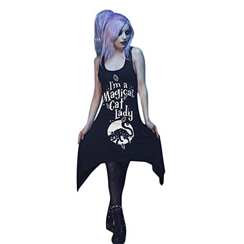 iCerber Damen 50s Vintage Rockabilly Kleid Jersey Sommerkleid Abendkleid Piebo Frauen A-Line Partykleider Lace Up Cosplay Kostuem Gothic Punk Lolita Mittelalter Cocktailkleid (XL,Schwarz)