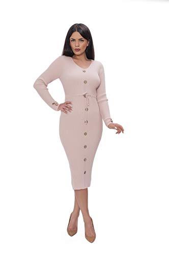 Miss Noir Damen Lange Strickkleid 3/4 langärmlig mit V-Ausschnitt Winterkleider Pulloverkleid Cocktailkleider Kleid Freizeit (Rosa)