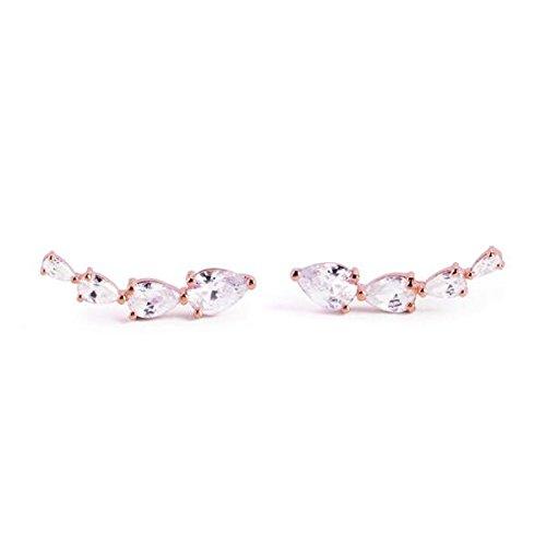 SINGULARU ® - Pendientes Blanc Oro Rosa para Mujer Plata de Ley 925 con baño de Oro Rosa de 18k - Joyas mujer