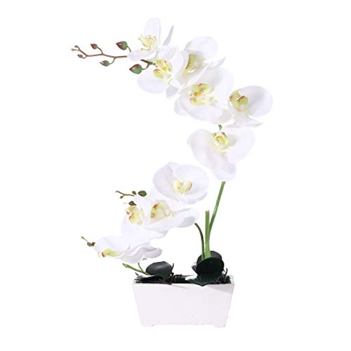 LingRenDu Orchid Plant for Artificial Flowers,White Orchid Arrangement,Orquidea Artificial Orchid Plant Perfect Packaging 11 Heads 4 Color with Woodiness Vase for Environmental ProtectionWhite
