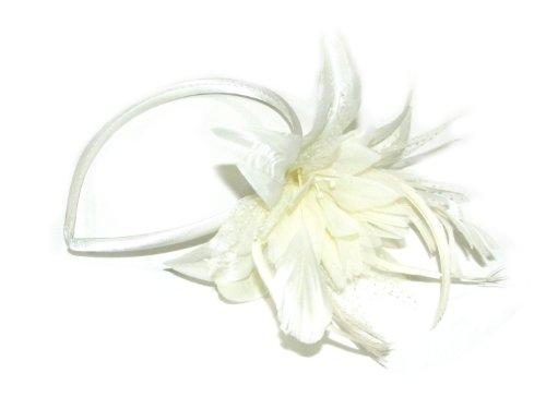 Inca Superbe Grand Fleur Perlée Pointillé Toile Fascinator À Plumes Bandeau Blanc Crème Réf : 4323
