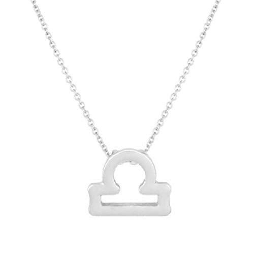 BGPOM Halskette Sommer Zwölf Sternbild Halskette Sternbild Anhänger Karte Schlüsselbeinkette, Waage Silber