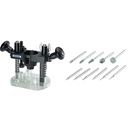 Dremel 335-01 Rotary Tool Plunge Router Attachment – Perfect for Wood & 689-01, Carving and Engraving Rotary Tool Accessory Kit, Perfect for use Wood, Metal, and Glass (11 Piece)