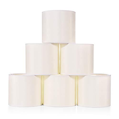 Wellme Set von 6 Mini Kronleuchter Lampenschirme, Stoff Faux Silk Creme weiße Trommel Lampenschirme für Esszimmer, Clip auf moderne Kronleuchter Wandleuchte, 14 x 14 x 13 cm