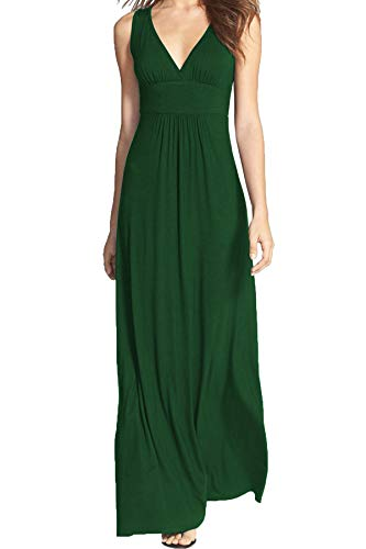 WOOSEA Women Sleeveless Deep V Neck Loose Plain Long Maxi Casual Dress (Apparel)