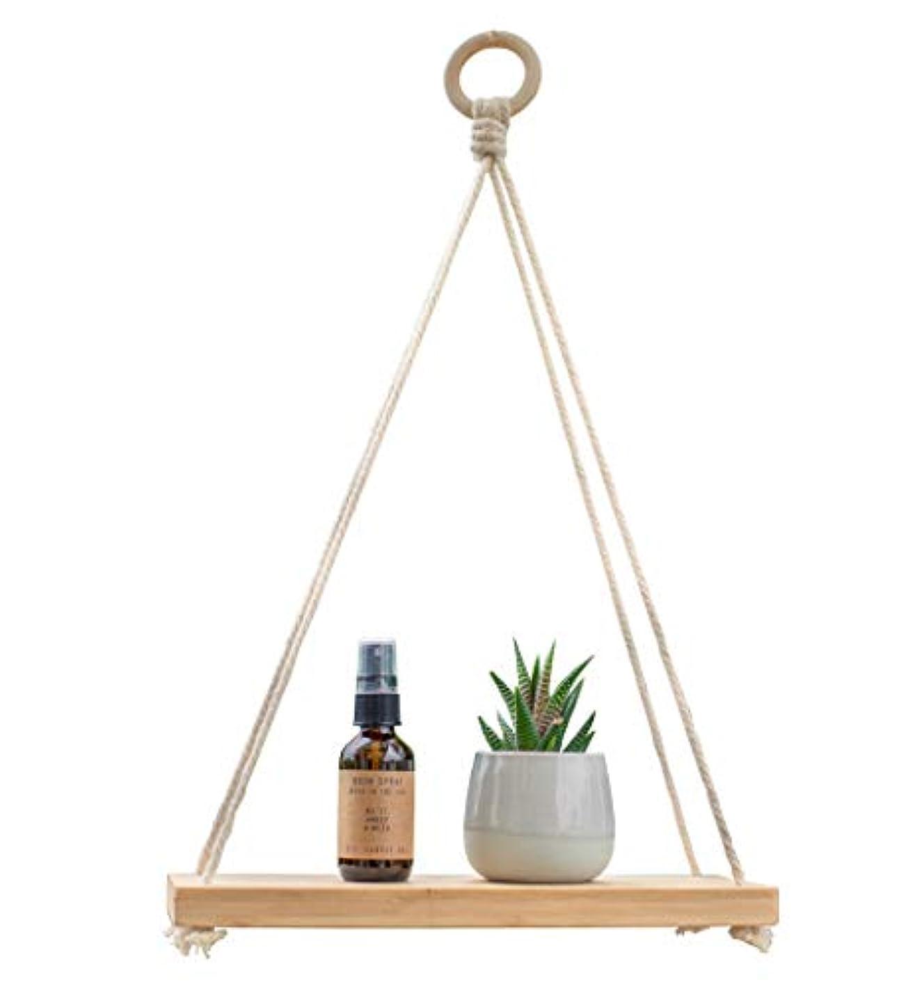 Macrame Pure Bamboo Hanging Plant Shelf Indoor Swing Rope Floating Shelf 12 Inches Eco Friendly