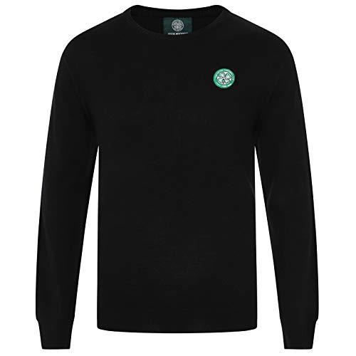Celtic FC Official Soccer Gift Mens Knitted Crew Neck Jumper Black Large