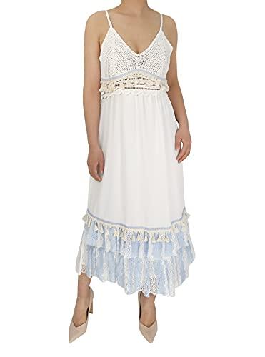 JOPHY & CO. Elegantes Damen-Kleid, lange Spitze, für Abend, Party, Strand, Urlaub, Casual, 2523, Column, Weiß One size