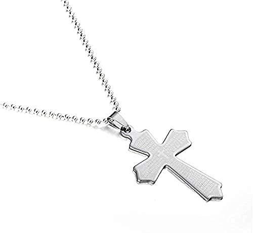 YOUZYHG co.,ltd Collana Croce in Acciaio inossidabile Collana con ciondolo Croce Bibbia Colore Argento e Catena per gioielli da uomo e Donna