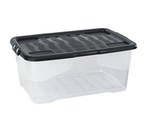 """Aufbewahrungsbox \""""Curve\"""" mit Deckel aus transparentem Kunststoff. Nutzvolumen von ca. 42 Liter. Stapelbar und nestbar. Maße BxTxH in cm: 61 x 40 x 26 cm"""