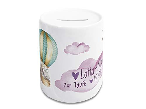 GRAZDesign Spardose Taufe Mädchen personalisiert mit Namen/Datum, Geschenk für Patenkind, Kinder, Heißluftballon und Wolken