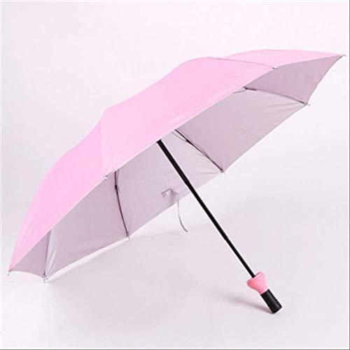 NJSDDB Paraplu Nieuwe creatieve wijnflessen-paraplu 3 vouwbare bescherming tegen licht anti-uv-paraplu unisex paraplu, roze (roze) - 6929247104736