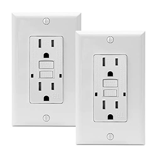 PROCURU 2-Pack 15A Tamper Resistant Self-Test GFCI Receptacle Outlet with LED Indicator with Wall Plate and Screws, White - UL Listed (2-Pack, 15 Amp)