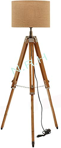 Nautical Wooden Tripod Floor Lamp Natural Finish Adjustable Height Home Decor Tripod (Without Shade)