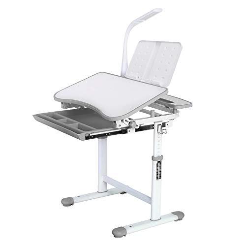 Homfa Kinderschreibtisch Schülerschreibtisch Kindertisch Schreibtisch höhenverstellbar, mit kippbarem Holztisch, antireflektierender Tisch, Buchständer, ausziehbare Schublade und Touch-LED grau