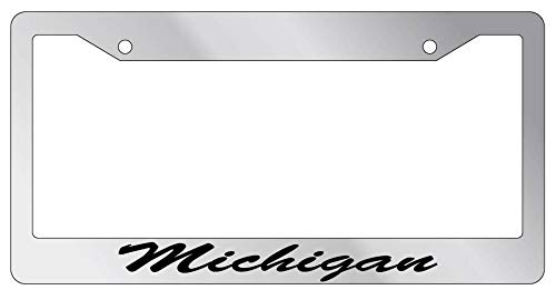 License Plate Frames, License Plate Frame CURSIVE Michigan Auto Accessory 997 Applicable to Standard car Rust-Proof Rattle-Proof Weather-Proof License Plate Frame Cover 15x30cm