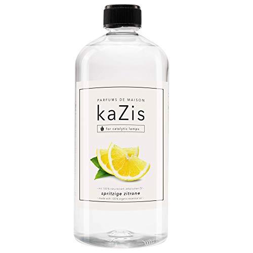 KAZIS® I Spritzige Zitrone I Für Alle Katalytischen Lampen I Raumduft I Parfums De Maison I Nachfüll-Öl (Refill) I 1000 ml I 1 Liter I Lampe Berger geeignet