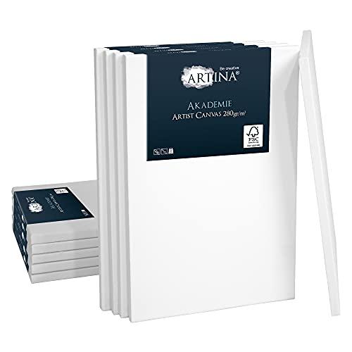 Artina 10er Set 30x40 cm Keilrahmen Leinwand aus 100% Baumwolle auf stabilem Keilrahmen in Akademie Qualität - 280 g/m²