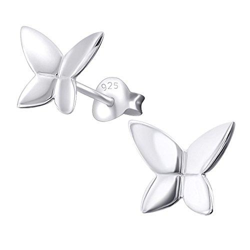 Laimons Pendientes para mujer Mariposa Brillante Plata de ley 925