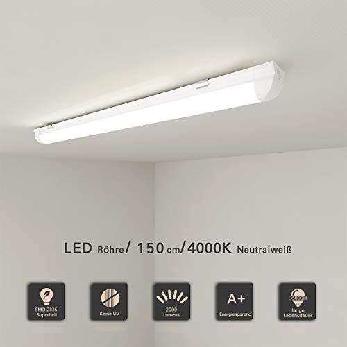 LED Leuchtstoffröhre 150cm komplett Set LED Röhre mit G13 T8 Fassung 24W LED Lichtleiste Neutralweiß 4000K 2000lm Deckenleuchte Unterbauleuchte für Küche Schranklicht Montagefertig milchige Abdeckung