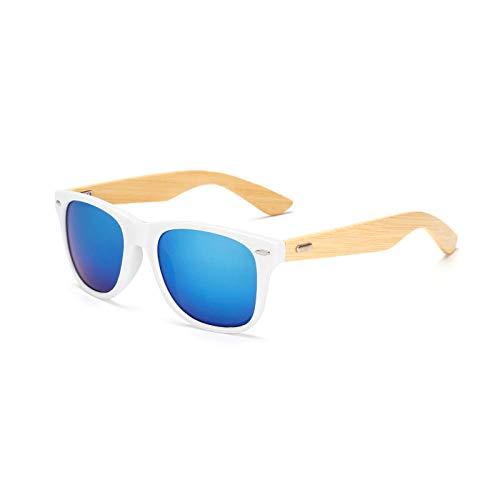 FJCY Gafas de Sol de bambú de Color Gafas de Sol de Madera para Hombre Gafas de Sol con Espejo retrovisor para Mujer Retro-Kp1501-C21
