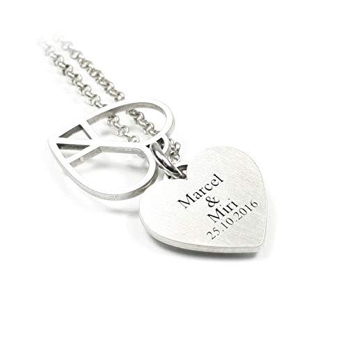 aa-design doppel Anhänger Peace Herz Herzchen mit individueller Gravur und Kette aus 925 Silber   Liebe Love Peace Partner Namenskette Datum Initiale GPS GEO Koordinaten Gravurplatte   PS23 KE2