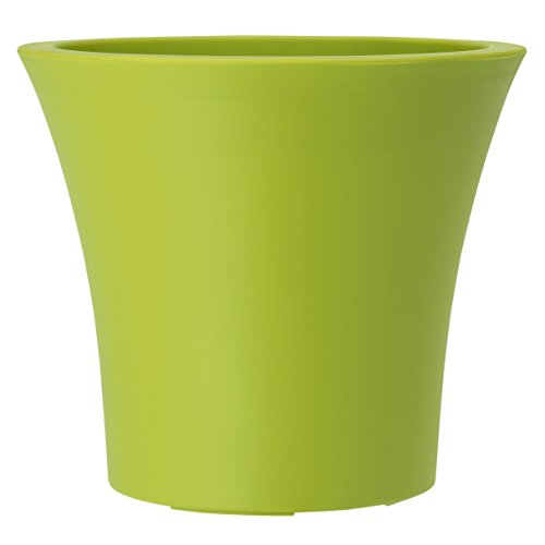 Emsa 514331 Blumenkübel für den Balkon, Selbstbewässerungssystem, 8 Liter, Grün, City Curve