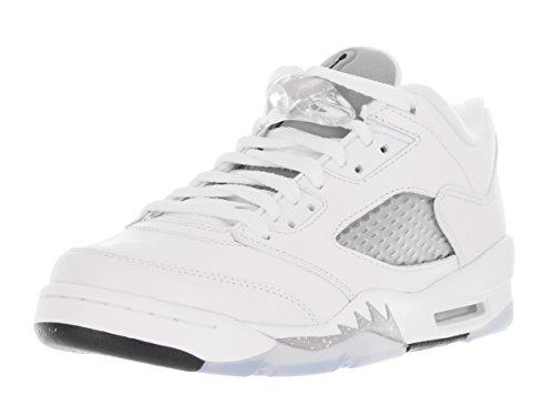 Nike Nike Mädchen Air Jordan 5 Retro Low GG Laufschuhe, Weiß Schwarz Grau Weiß Schwarz Wolf Grau, 37.5 EU